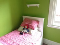 Zany colours like this lime green are 'contained' by white trim.