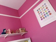 Bright colours like this bold pink are 'contained' by white trim.